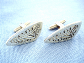 Stylish 1970's Sterling Silver Cufflinks with Engraved Decoration (SOLD)